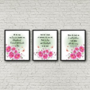 My Savior Leadeth Me Hymn Lyric Word Art Wall Decor 8X10 Print Watercolor Floral
