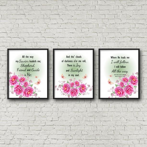 My Savior Leadeth Me Hymn Lyric Word Art Wall Decor 8X10 Print Watercolor Floral