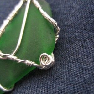 Brown Outer Banks Sea Glass Silver Wire Hand Made Pendant