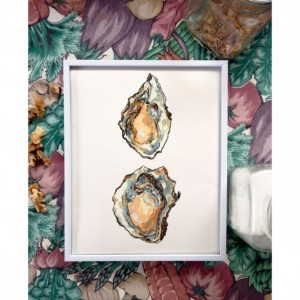8x10 Oysters Print, Food Art, Food Illustration, Wall Art, Kitchen Art, Kitchen Decor, Kitchen Print, Food Print, Seafood Print, Sea Painting