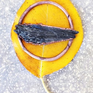 Electroformed Black Kyanite Circle Pendant