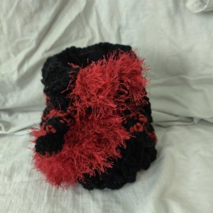 Red and Black Dragon Egg Dice Bag Lined with Pockets