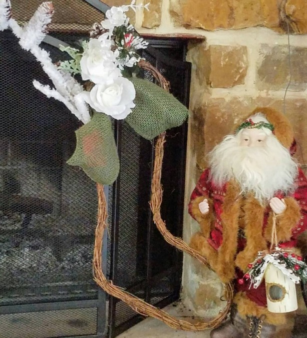 Grapevine Stocking Wreath Decoration With Female Cardinal White Roses and Pine Cones