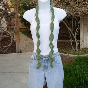 Solid Olive Green Skinny SUMMER SCARF with Twists Small 100% Cotton Spiral Narrow Lightweight Women's Thin Crochet Knit, Ships in 2 Business Days