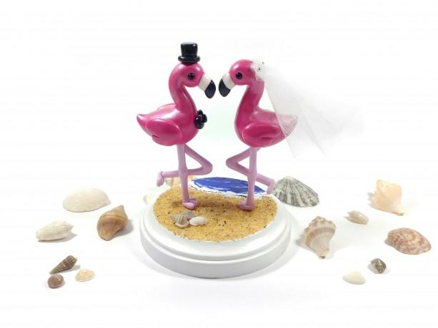Flamingo Beach Wedding Cake Topper Perfect for a Tropical Wedding