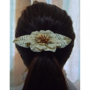 Rustic Burlap Flower Hair Clip w/accents - Rustic Country, Shabby chick, flower girl hair clip,  Women or youth