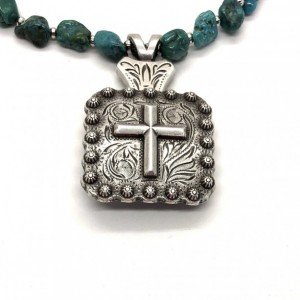 Western Cross Concho Necklace with Genuine Small Blue/Green Turquoise Nuggets