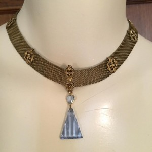 OOAK Vintage Blue Crystal Gold Mesh Pendant Necklace