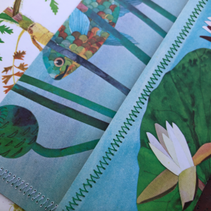 Botanical Flower Kids Book Pages Recylced Paper Hand Sewn Envelopes