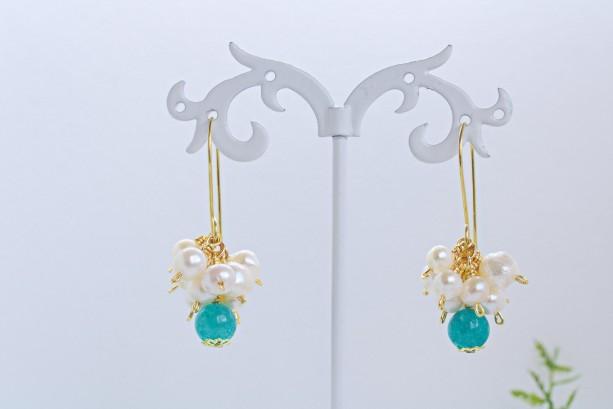 Freshwater Pearl Earrings, Pearl Cluster Earrings, Dangle Earrings, Blue Quartz Earrings