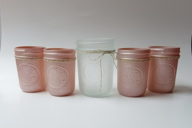 champagne pink frosted mason jars set of 5 baby girl shower b