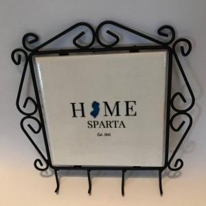 Wall Key Holder-Custom Ceramic Tile Insert-Sparta NJ Key Holder-Personalized Wall Key Holder-Gift Ideas-Housewarming-Wall Decor-Home Decor