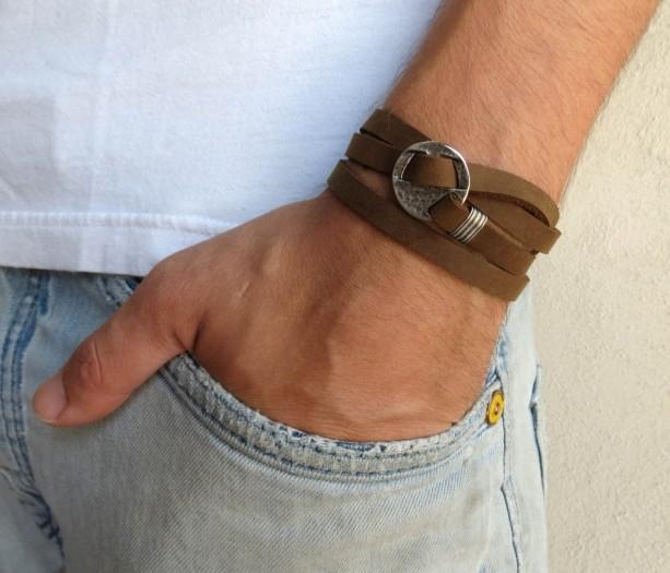 Men's Bracelet - Men's Leather Bracelet - Men's Jewelry - Men's Gift - Present For Men - Gift For Dad - Husband Gift - Boyfriend Gift - Male