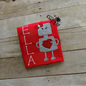 Valentines Day Girls Tshirt, Toddlers, Infants, Robot with Hearts, Sibling Sets Personalized, Embroidered, Appliqued