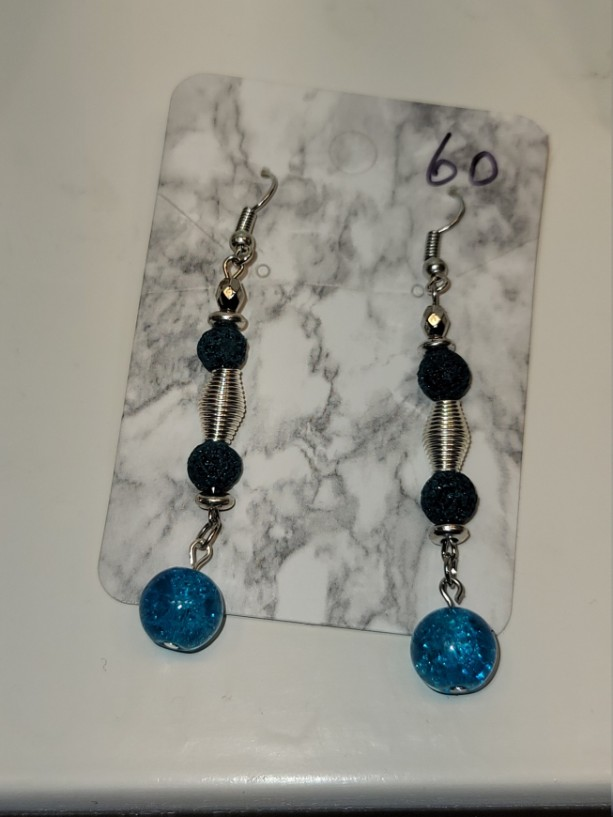 Green and blue bead with silver accent earrings