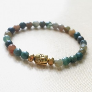 Indian Agate Buddha Bracelet