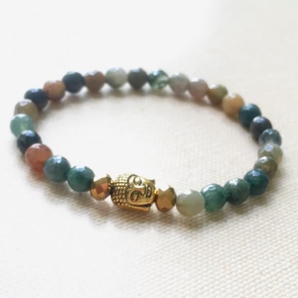 Indian Agate Buddha Bracelet