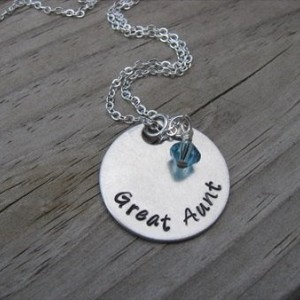 "Great Aunt Necklace- Hand-Stamped ""Great Aunt"" with an accent bead in your choice of colors"