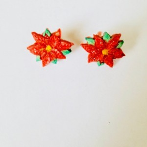 Red poinsettia studs X-mas Flower Earrings, Christmas Jewelry, Christmas Stud Earrings