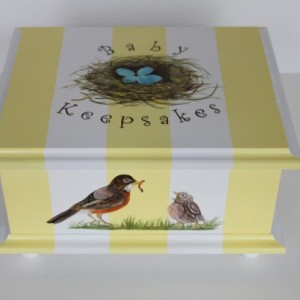 Keepsake Memory Box Baby - yellow stripe bird nest baby gift