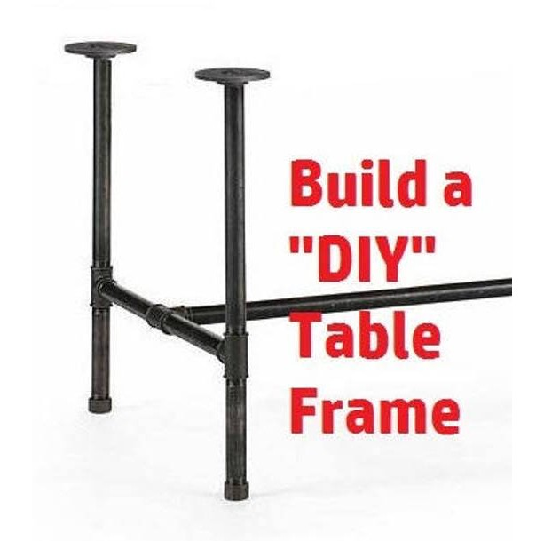 """Black Pipe COMPUTER DESK Table Frame """"DIY"""" Parts Kit--3/4"""" x 54"""" long x 30"""" wide x 30"""" tall"""