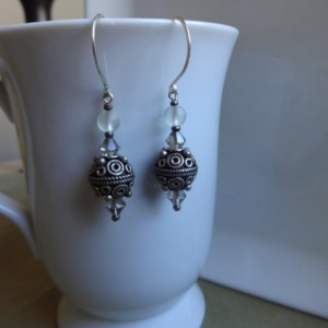 Black & White Decorative Bead Drop Earrings