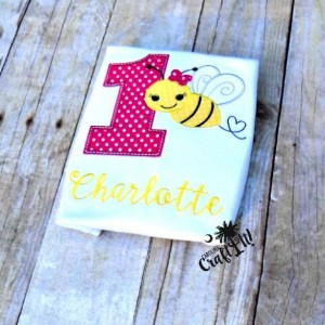 Girls Bumble Bee Birthday Shirts, Toddlers Bumble Bee Birthday shirts, Infants Bumble Bee Birthday, 1-9 available, Appliqued, Embroidered,