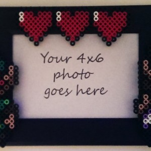 5x7 White or Black Picture Frame with Perler Made Zelda, Link, & Life Hearts- Geekery- Nerd Love- Retro