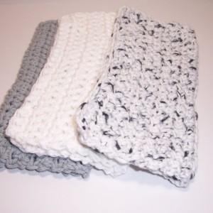 Set of 3 Handmade Crochet Cotton Dish,Wash,Bath Cloths,Dish Rags,Gifts,Housewarming,Ready To Ship