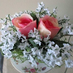 Tea Cup Flower Arrangement Large Pink Roses with White Flowers