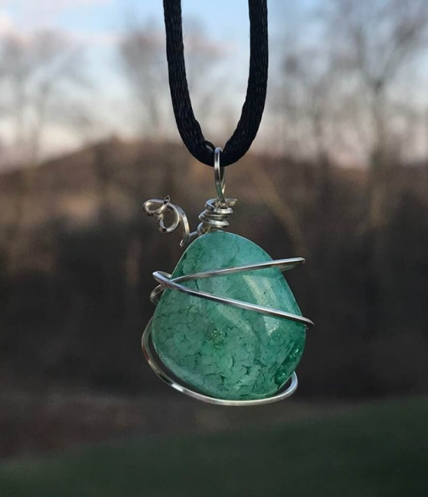 Silver Wire Wrapped Green Gemstone Pendant