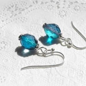 Earrings Aqua And Blue Color Glass Beads Handmade Summer Sea Gradation Tiny Resort Sea Beach Water Ice