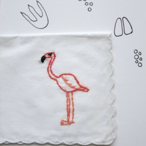 Embroidered Flamingo Handkerchief Flamingo Accessory OOAK Gift Unique Handkerchief by wrenbirdarts on Etsy