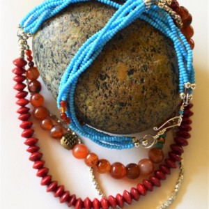 African statement necklace, African tribal turquoise necklace, Boho necklace, African ethnic jewelry, African layered necklace, African bead