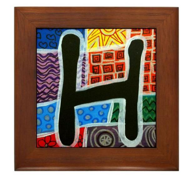 """Folk Art - Letter """"H"""" - FRAMED TILE By Artist A.V.Aposte"""