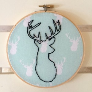 Deer Silhouette Embroidery Hoop Art Wall Hanging