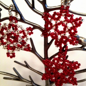 3 Beaded Snowflake Ornaments, Red and Silver Christmas Tree Ornament, Beaded Christmas Ornament, Handmade Holiday Decoration