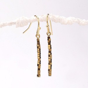 Thin Gold Hematite Path, Thin Gold Hematite Cube Bar Earrings