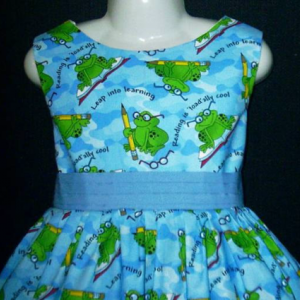 NEW Handmade Back To School Leap Into Learning Jumper Dress Custom Sz 12M-14Yrs