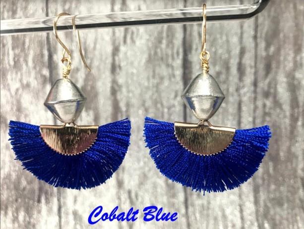 The Vivienne | tassel fan earrings, silver brass bicone bead, gold French hook ear wires, statement earrings, fan jewelry, Gifts for Her