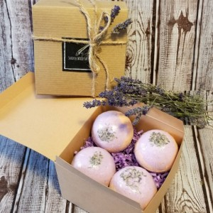 Lavender Sweet Orange Bath Bomb Gift Set (4 bath bombs/Size Large)