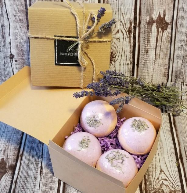 Lavender Sweet Orange Bath Bomb Gift Set (4 bath bombs/Size Large)