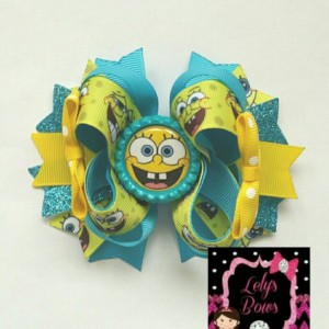 SpongeBob inspired Stacked Boutique Hair Bow, SpongeBob hair bow, SpongeBob bow, SpongeBob party, SpongeBob  birthday party, SpongeBob