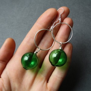 Blown Glass Earrings - Hollow Green Glass - Lightweight - Silver Shackle