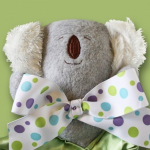 Gray Koala Bear Security Blanket, Lovey Blanket, Satin, Baby Blanket, Stuffed Animal, Baby Toy - Customize Color - Add Monogramming