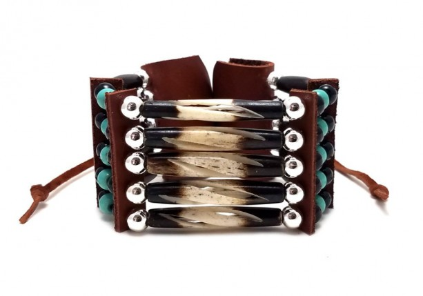 Handmade Traditional 5 Row Carved Buffalo Bone Hairpipe Beads Tribal Bracelet