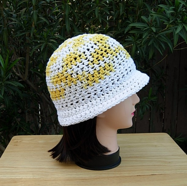 b530406e Women's 100% Cotton Yellow and White Crochet Cloche Summer Hat | aftcra
