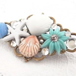 Brooch Aqua Color Shell and Flower Cabochon Handmade Blue Summer Resort Starfish Jewelry Beach Sea Antique Gold Rhombus Accessory