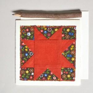 Sawtooth quilt block card card -- handmade
