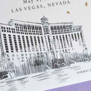 Las Vegas Bellagio Hotel Skyline Starry Night Hand Drawn Save the Date Cards (set of 25 cards)